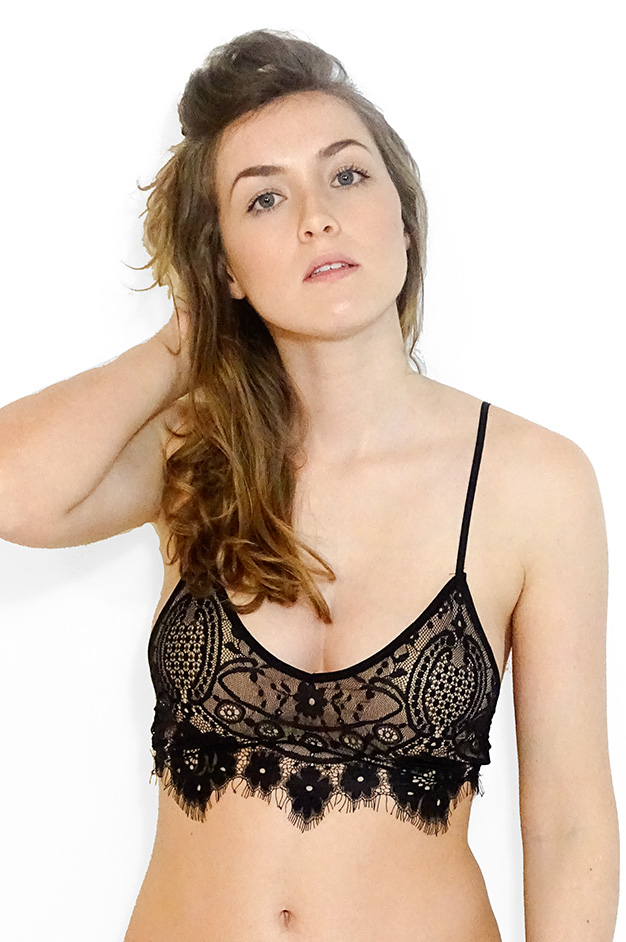 LUCIE STRAPPED LACE BRALETTE | BLACK/NUDE