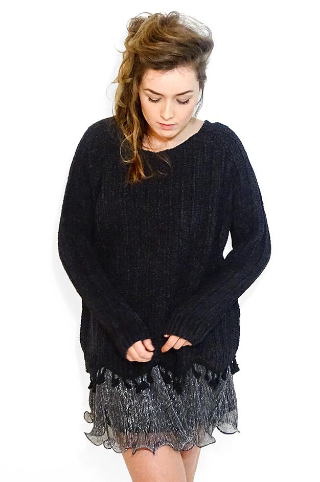 EMILIA KNIT TASSELED SWEATER   BLACK