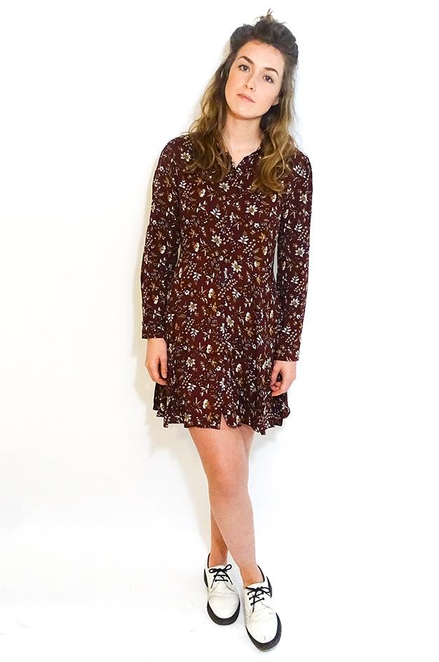 VALENTINA FLORAL DRESS   BORDEAUX