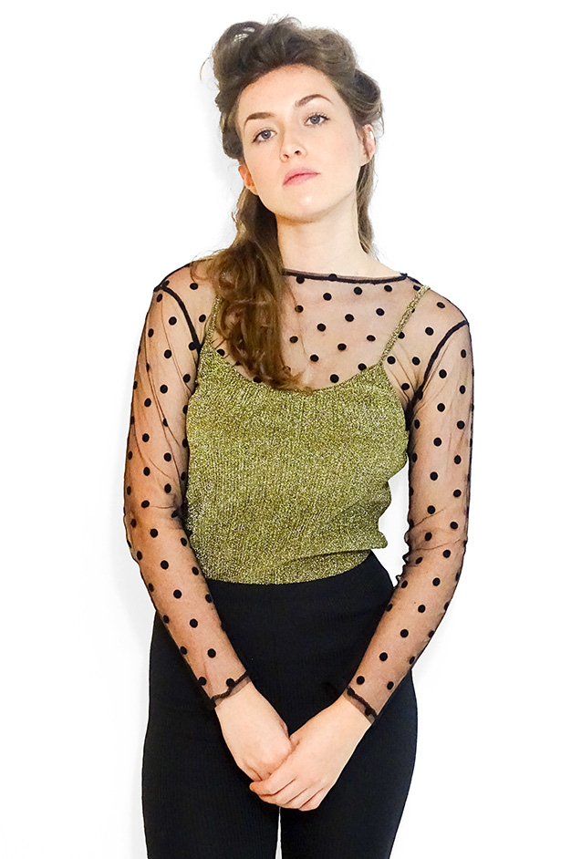 ANJA STRAPPED GLITTER TOP | GOLD