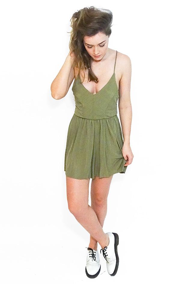 ELENA SHORT STRAPPED PLAYSUIT   OLIVE GREEN