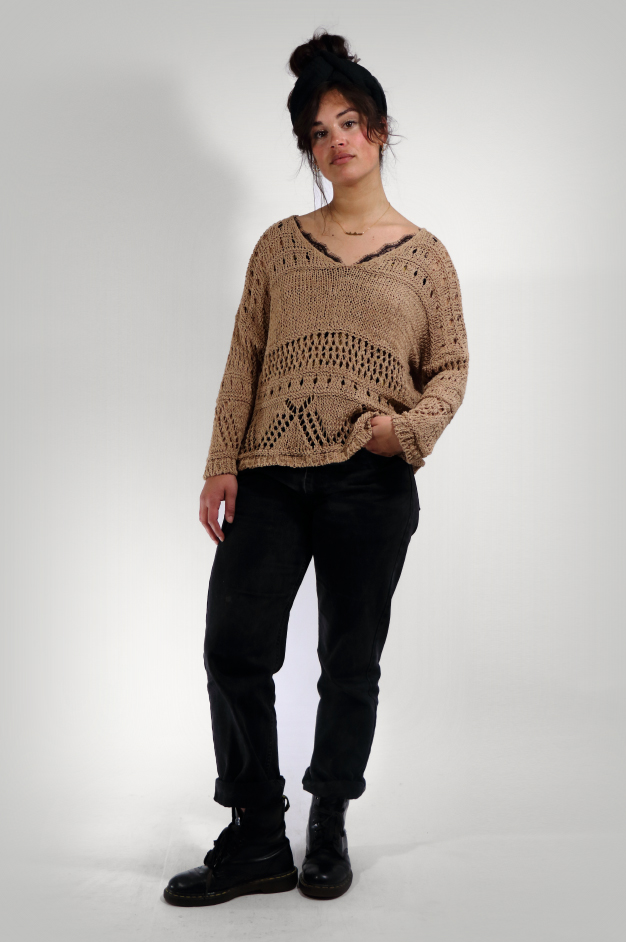 FIORE KNIT V-NECK | TAUPE